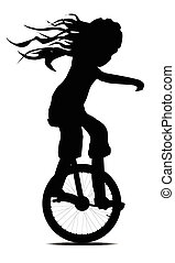 Little Girl On A Unicycle - Silhouette of a little girl on a...