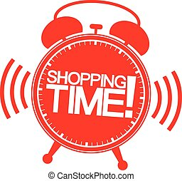 Shopping time alarm clock, vector illustration