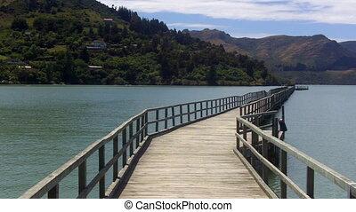 Empty wooden pier in Lyttelton, New Zealand