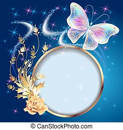 Transparent butterflies and frame - Transparent flying...