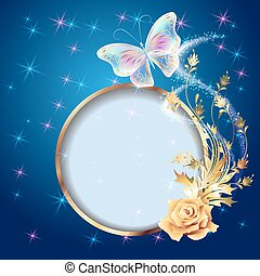 Transparent  butterfly with golden ornament, frame and  firework