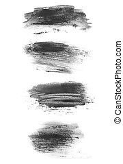 brush strokes isolated on white - set photo of watercolor...