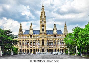 Viennas Town Hall Rathaus at daytimeVienna Austria