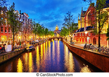 Westerkerk Western Church, with water canal view in...