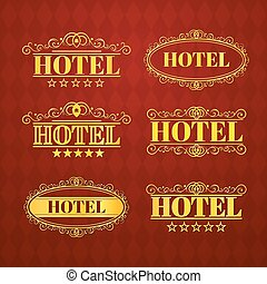 Hotel vintage golden labels, vector illustration - Hotel...
