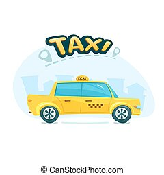The yellow taxi, vector illustration - The yellow taxi with...
