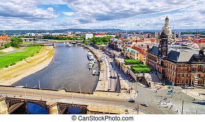 Histoirical center of the Dresden Old TownRiver Elba Dresden...