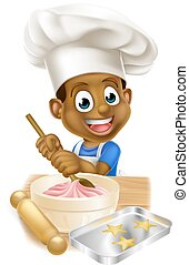Cartoon Chef Boy - A young black boy kid in an apron and...