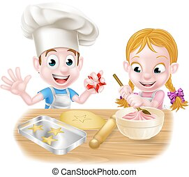 Kids Baking - Cartoon kids baking cakes and biscuits as...