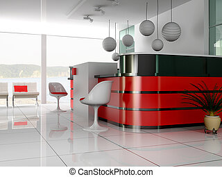Reception in is cared hotels - Hall of hotel in agoy 3d...