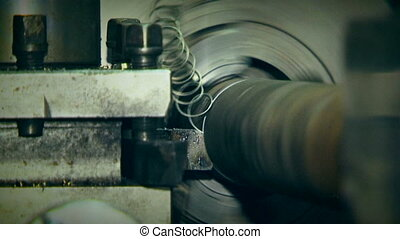 Turn Bench Cutting Metal Tube - CLOSE UP. Turn bench quickly...