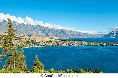 Queenstown, NZ - View from Queenstown towards Lake Wakatipu...