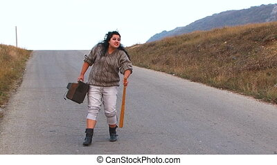 Weird Woman Creaming At Road