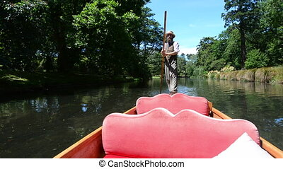 Punting on Avon river Christchurch - Punting sailor punting...