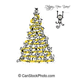 Christmas tree with funny monkeys for your design