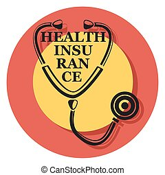health insurance circle icon with shadow.eps