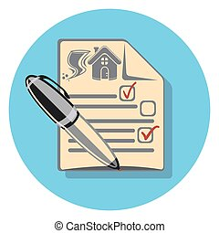 house insurance contract circle icon with shadow.eps