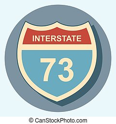 interstate sign circle icon with shadow.eps