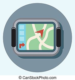 navigation circle icon with shadow.eps