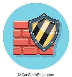 shield and wall flat icon.eps