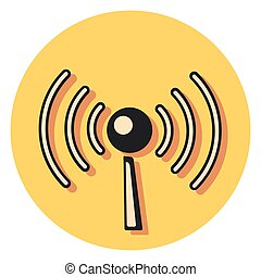 wireless flat icon in circle.eps