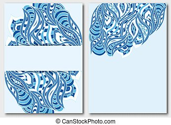 Set of templates for design invitations or flyers in blue tones with elements of hand-draw doodles.