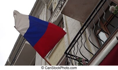 Russian Flag fluttering in the Wind - Tricolor Russian flag...