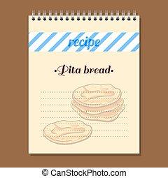 Recipe Book Pita Bread - Page for recipe book with hand...