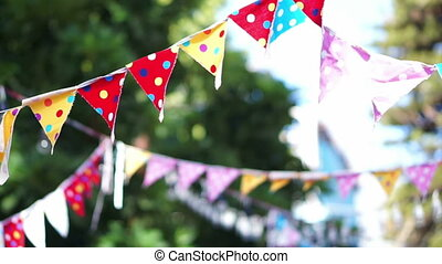 colourful polka dots festival flags - abstract colourful...