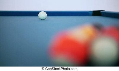 billiard ball snooker on blue table - billiard ball triangle...