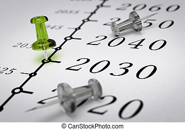 21th century time line, Year 2030 - Year 2030 written on a...