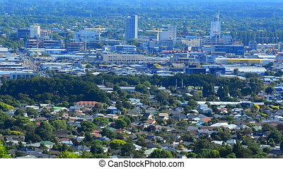 Christchurch skyline New Zealand - Aerial view of...