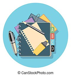 papers flat icon in circle.eps