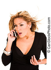 panic woman with mobile phone - young woman calling by...