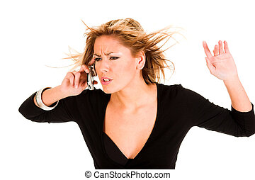 angry young woman calling by mobile phone on white...