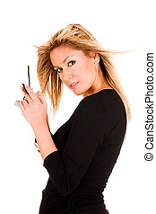 woman calling by mobile phone - beautiful young woman...
