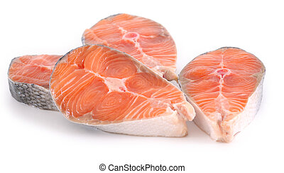 raw salmon steaks on white background - raw salmon steaks...