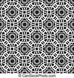 Monochrome seamless pattern with geometric ornament of of...