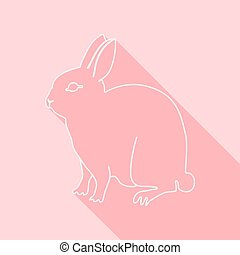 Icon Contour rabbit Flat style, long shadows Vector...
