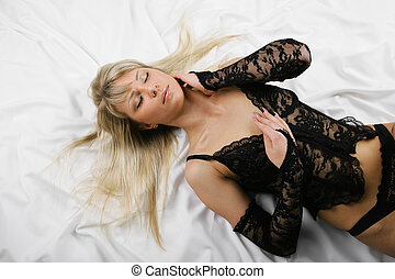 Beautiful blonde sex - Beautiful sexual blonde in black lace...