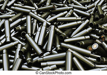 Background from military machine gun cartridges. Danger...