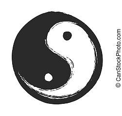 hand drawn ying yang symbol of harmony and balance, vector...