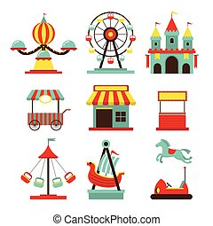 Amusement Park Objects Flat Icons Set - Theme Park,...