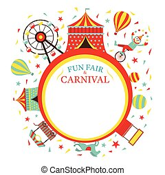 Fun Fair, Carnival, Circus, Round Frame - Amusement Park,...