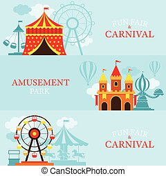 Amusement Park, Carnival, Fun Fair, Banner - Theme Park,...