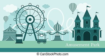 Amusement Park Mono Color - Carnival, Fun Fair, Theme Park,...