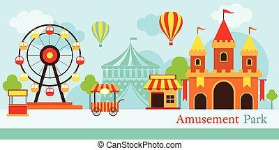 Amusement Park, Carnival, Fun Fair - Theme Park, Circus, Day...