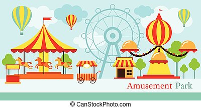 Amusement Park, Carnival, Fun Fair - Theme Park, Circus, Day...