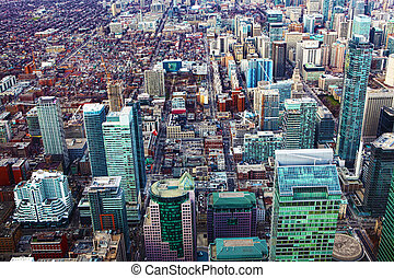 Aerial of Toronto office buildings - Aerial view of a...