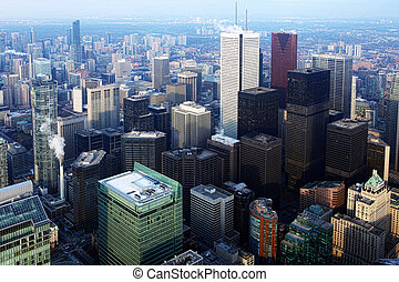 Aerial view of the Toronto at dusk - Aerial view of the...